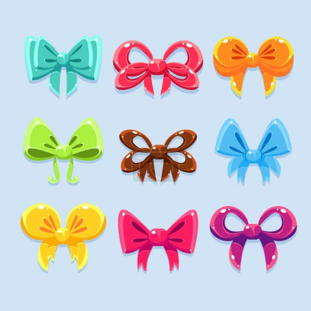 Illustration for Colorful ribbons and bow ties vrctor set - Royalty Free Image