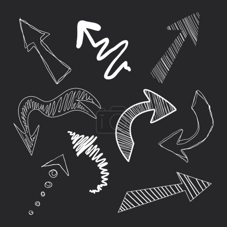 Photo for Set of arrows in chalk on a blackboard vector - Royalty Free Image