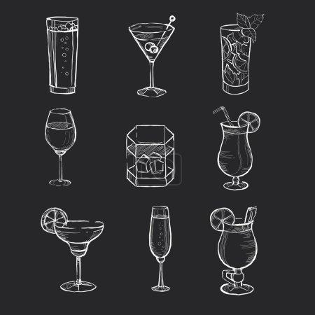 Illustration pour Différentes boissons dessinées à la main sur le tableau. Jeu d'illustrations vectorielles - image libre de droit