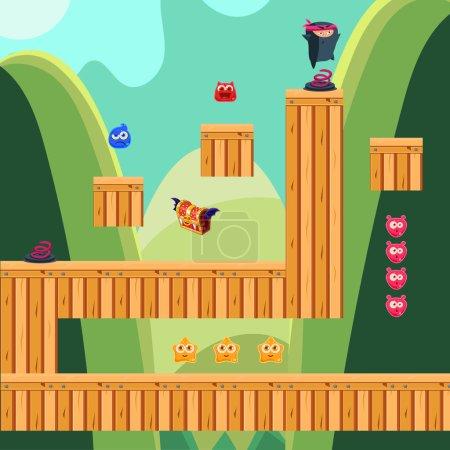 Illustration pour Application mobile jeu paysage niveau arrière-plan, éléments, barre d'énergie et personnage de jeu- conception de jeux informatiques - image libre de droit