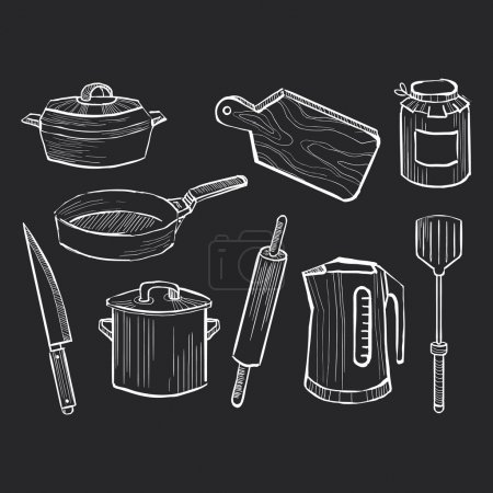 Photo for Hand drawn set of kitchen utensils on a chalkboard background - Royalty Free Image