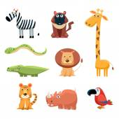 African Animals Fun Cartoon Clip Art Collection Brightly colored childish African animals set Vector illustration