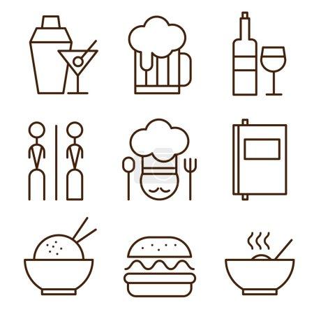 Illustration pour Icônes restaurant ensemble vectoriel illustration style simple - image libre de droit
