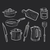 Hand drawn set of kitchen