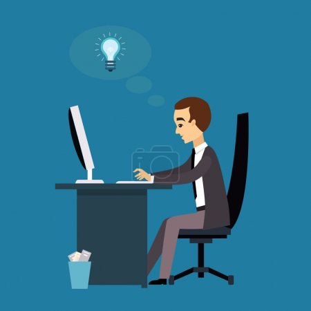 Illustration for The man works with a laptop. Flat modern illustration workflow - Royalty Free Image