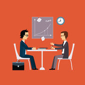 Business people two men at the table negotiating Flat design