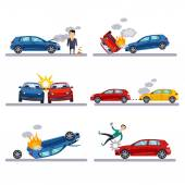 Car accidents set on white