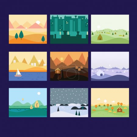 Illustration for Background Seamless scenery seasons and landscapes, vector illustration - Royalty Free Image