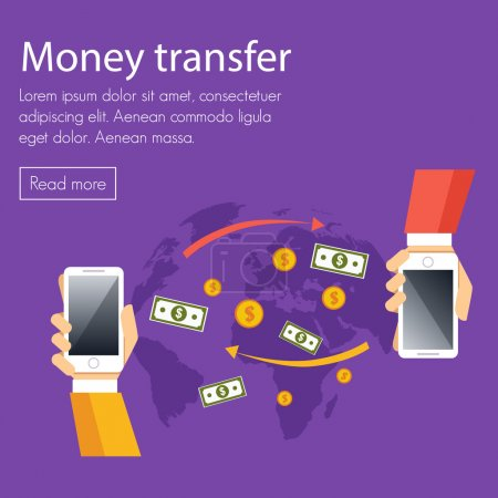 Mobile money transfer vector concept.