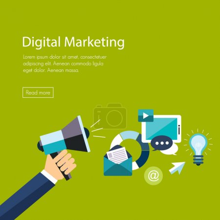 Photo for Digital marketing flat illustration. Hand with speaker and icons - Royalty Free Image