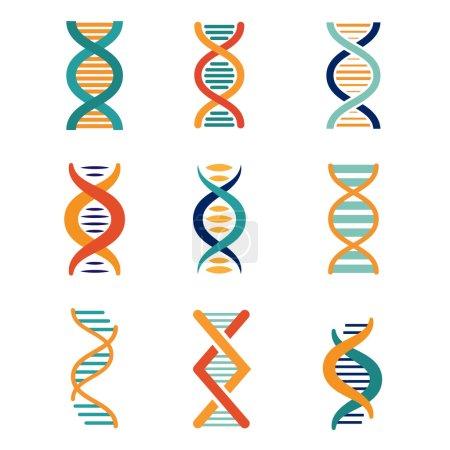 DNA, genetics vector icons