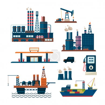 Photo pour Concept d'affaires de l'industrie pétrolière de la production d'essence diesel distribution et transport de carburant quatre icônes composition illustration vectorielle - image libre de droit