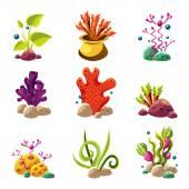 Kreslený podvodní rostliny a zvířata