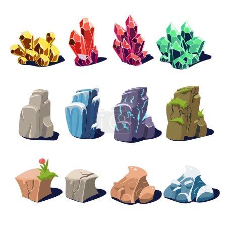 Illustration pour Ensemble de pierres précieuses de dessin animé en différentes couleurs et formes pour un jeu - image libre de droit