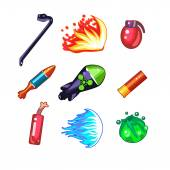 Weapon icons on white background