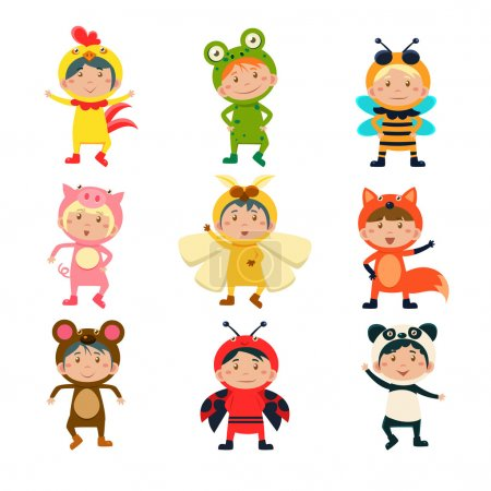 Illustration for Cute Children Wearing Costumes of Animals Vector Illustration Set - Royalty Free Image