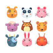Set of Cute Cartoon Animal Faces Vector Illustration