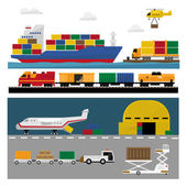 Set of vector freight cargo transport icons featuring flat nose semi-trailer truck cargo jet airplane wooden and cardboard containers and crates local delivery truck and cargo van