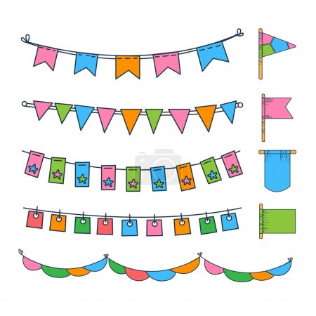 Illustration for Holiday set of bright garlands and flags Vector Illustration collection - Royalty Free Image