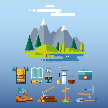 Illustration for Set of hiking and camping equipment. Flat design vector illustrations set - Royalty Free Image