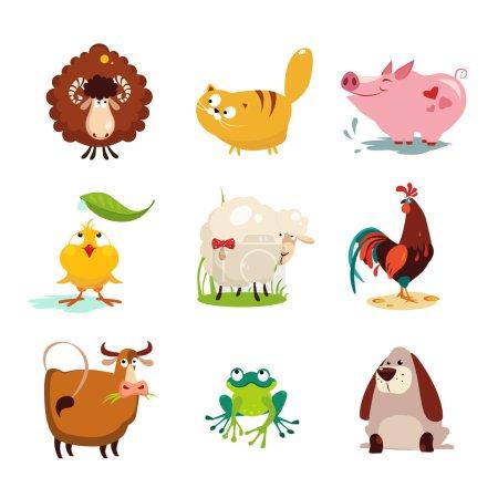 Photo pour Ensemble de collection d'illustrations vectorielles d'animaux et d'oiseaux de ferme - image libre de droit