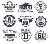 Black and White Sport Emblems Logos Vector Illustration Set