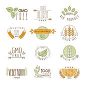 Set of Natural Organic Icons Labels and Badges collection of vector illustrations