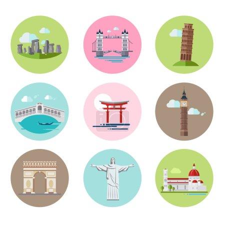 National Landmarks Vector Illustration Set in Flat Style