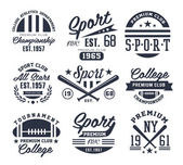 Monochrome Sport Emblems Labels Badges Logos Vector Illustration Set