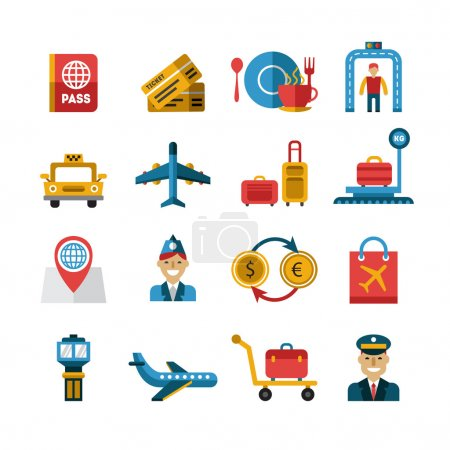 Airport and Airlines Services Icons.