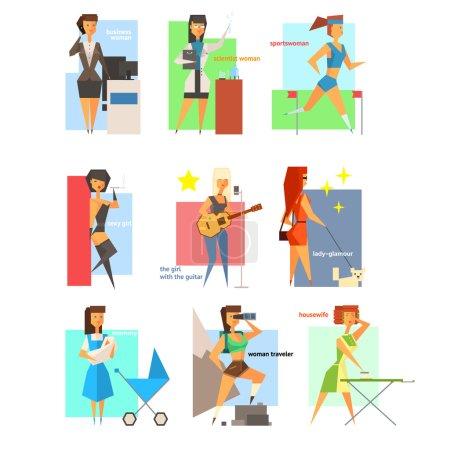 Illustration pour Femmes, Style de vie Ensemble d'illustrations vectorielles plates - image libre de droit