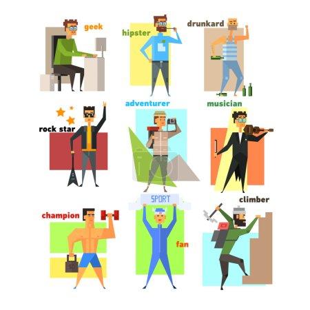 Illustration pour Hommes, Style de vie Ensemble d'illustrations vectorielles plates - image libre de droit