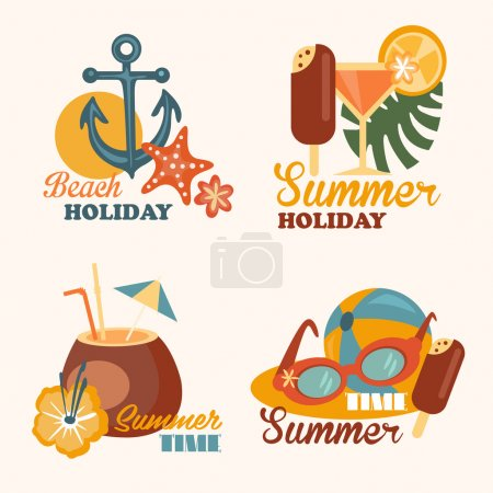 Illustration for Set of vector flat design concept illustrations and elements with icons of summer holiday and vacation, flat style - Royalty Free Image