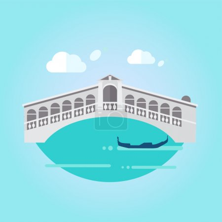Venice Bridge and Boat in Flat Style