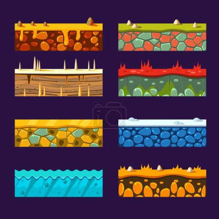 Photo for Textures for Platformers, Set of Vector Illustrations - Royalty Free Image