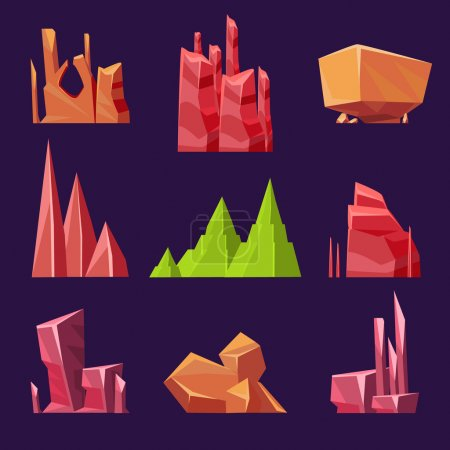Stones and minerals set vector illustration, for g...