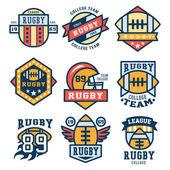 Rugby Emblem Set Vector Illustration Flat Design