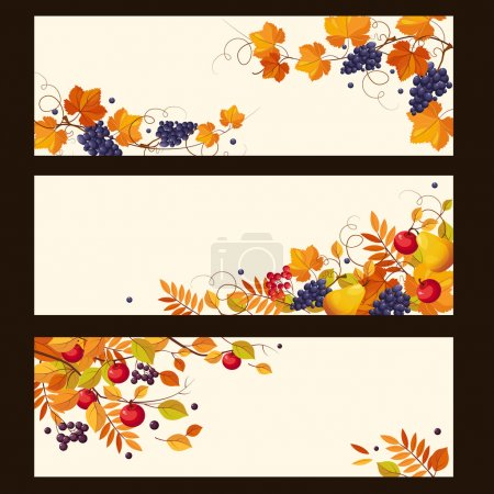 Autumn Banners with Ripe Berries and Leaves, Vector Illustration
