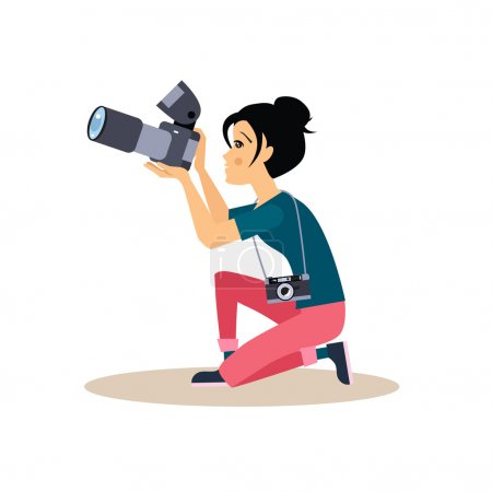Illustration for Young photographer girl sitting on a knee taking a photo, vector illustration in flat style - Royalty Free Image