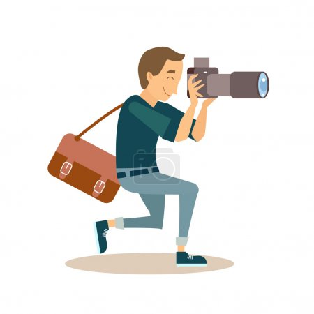 Illustration for Cool vector photographer, taking a picture. Male character in flat style - Royalty Free Image