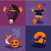 Halloween Pumpkin Cauldron and Scarecrow Vector Illustration Set