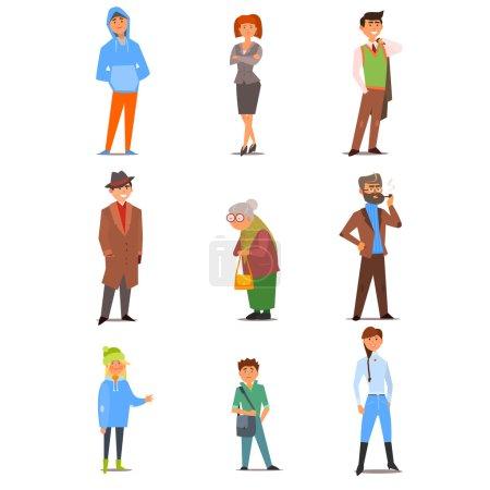 Photo pour Différentes personnes d'âges, d'intérêts, de modes de vie et de professions différents. Collection d'illustrations vectorielles en design plat - image libre de droit