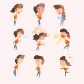 Emotions of women set of flat vector illustrations