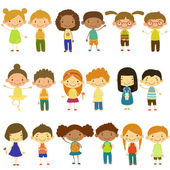 Kids of Different Nationalities and Lifestyles. Vector Illustration in Flat Style Set