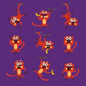 Monkeys in Different Poses Vector Illustrations