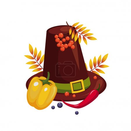 Illustration for Thanksgiving Day Hat and Vegetables Vector Illustration - Royalty Free Image