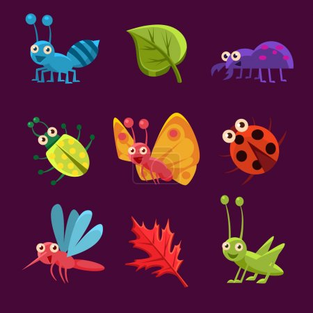 Illustration for Cute Emotional Insects and Leaves. Vector Illustration Set - Royalty Free Image