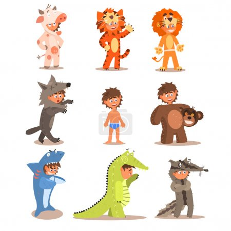 Illustration for Little Boys Wearing Animal Costumes. Vector Illustration Set - Royalty Free Image