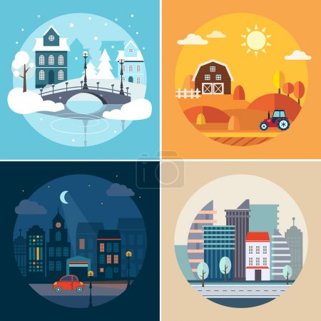 Photo for Set of flat vector illustrations of city and state landscapes in different seasons - Royalty Free Image