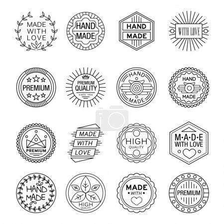 Vector illustration set of linear badges and logo ...